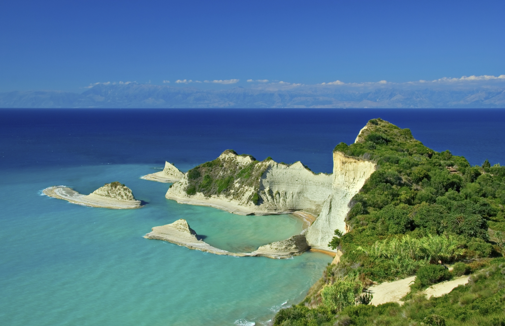 Cape Drastis with nearby islands on Corfu island, Greece